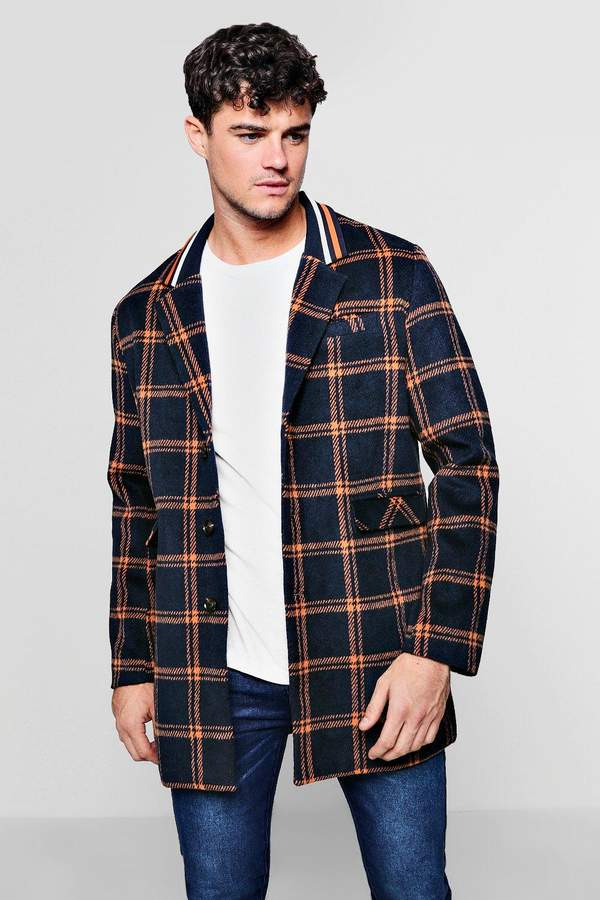 boohoo Sports Tape Insert Check Wool Look Coat