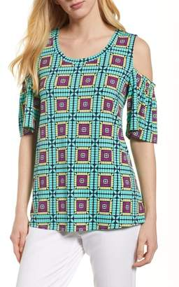 Chaus Plaza Tile Cold Shoulder Top