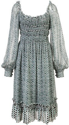 Proenza Schouler Crepe Chiffon Square Neck Dress