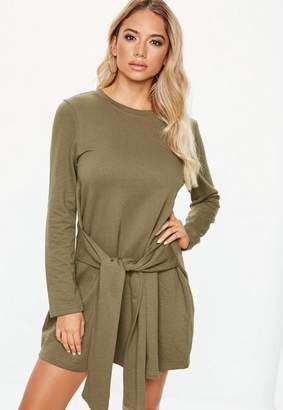 Missguided Khaki Tie Waist Sweater Dress