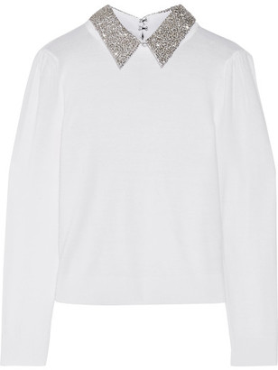 Alice + Olivia Alice Olivia - Era Embellished Wool-blend Sweater - Cream $415 thestylecure.com