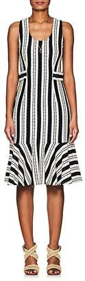 Derek Lam Women's Striped Crocheted Cotton Flounce Dress
