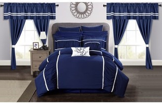 Chic Home 24-Piece Auburn Complete bedroom in a bag Pinch Pleat Ruffled Designer Embellished King Bed In a Bag Comforter Set Navy With sheet set