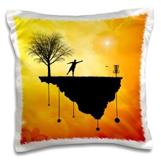 3dRose Putt Plastic In Its Place - silhouette of a disc golf basket and putter - Pillow Case, 16 by 16-inch