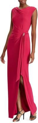 Lauren Ralph Lauren Slim Fit Brooch Cowlneck Jersey Gown