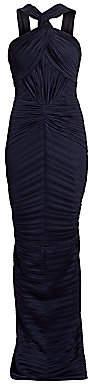 Zac Posen Women's Wrap Neck Plisse Jersey Gown