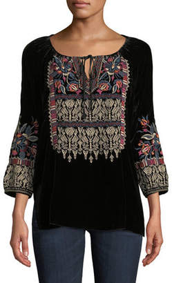 Johnny Was Claude Embroidered Velvet Blouse, Plus Size