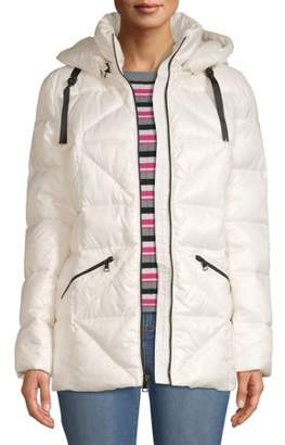 KENDALL + KYLIE Women's Shiny Long Puffer with Bold Zipper Detail