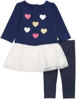 Little Me Hearts Tutu Dress & Leggings Set