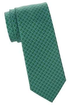 Salvatore Ferragamo Linked Gancini Heart Silk Tie
