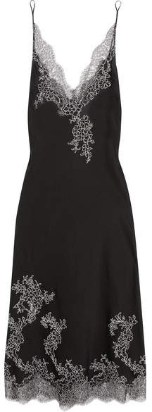 Carine Gilson Embroidered Chantilly Lace-trimmed Silk-satin Chemise - Black