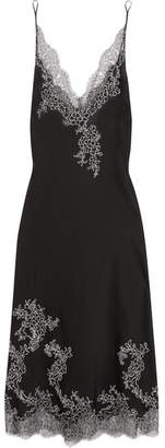 Embroidered Chantilly Lace-trimmed Silk-satin Chemise - Black