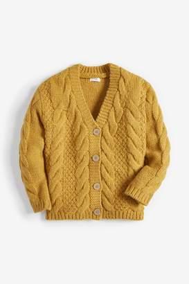 Next Girls Ochre Cable Cardigan (3-16yrs) - Yellow