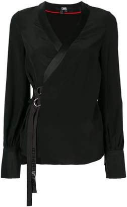 Karl Lagerfeld logo trim wrap blouse