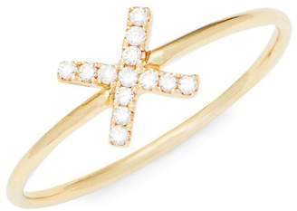 Suzanne Kalan Women's Diamond and 14K Yellow Gold X Ring