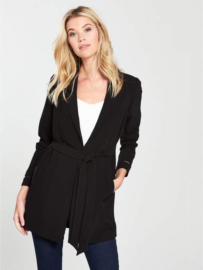 Longline Belted Jacket - Black