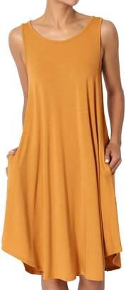 Ash TheMogan Women's 3/4 Sleeve Pocket Swing Flared Tunic Mini Dress Teal 3XL