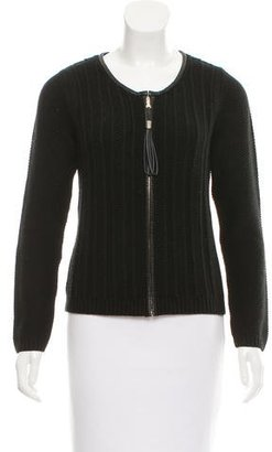 Sandro Leather-Trimmed Cardigan $75 thestylecure.com