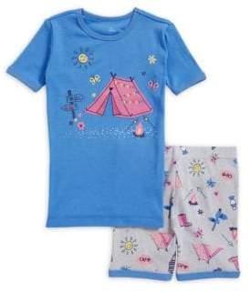 Petit Lem Little Girl's Two-Piece Campfire Cotton Pajama Set