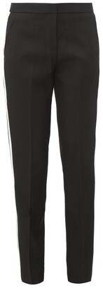 Burberry Hanover Tailored Satin Stripe Wool Trousers - Womens - Black White