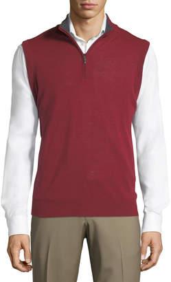 Neiman Marcus Mock-Collar Zip Sweater Vest