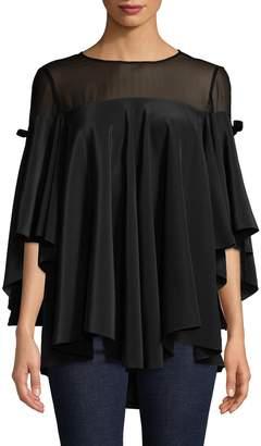 Badgley Mischka Women's Flutter Sleeve Blouse