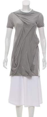 Rick Owens Gathered Short Sleeve Top w/ Tags