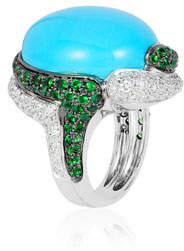 Andreoli 18k White Gold Turquoise, Diamond & Tsavorite Ring