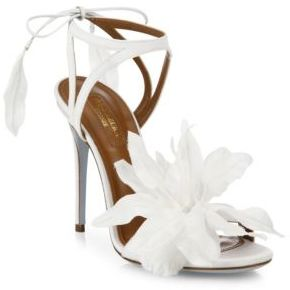 Aquazzura Flora Satin Back-Tie Sandals $895 thestylecure.com
