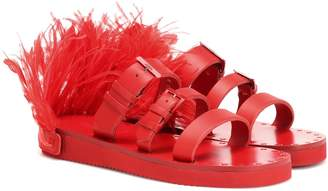 Valentino Escape feather-trimmed leather sandals