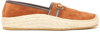 Gucci Horsebit Suede And Raffia Espadrille Loafers - Mens - Tan