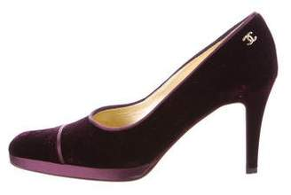 Chanel Velvet Round-Toe Pumps