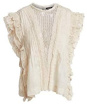 Isabel Marant Women's Roya Lace-Insert Sleeveless Blouse