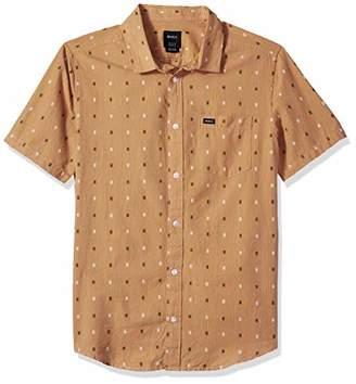 RVCA Men's Aye KAT Short Sleeve Woven Button Front Shirt