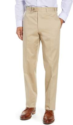 John W. Nordstrom R) Torino Traditional Fit Flat Front Solid Stretch Cotton Trousers