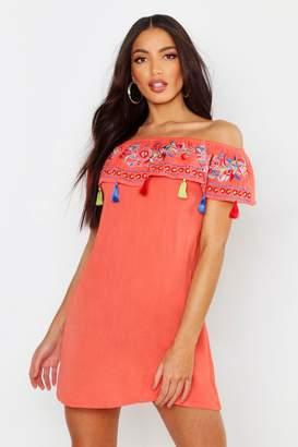 boohoo Bohemian Embroidered Off The Shoulder Dress