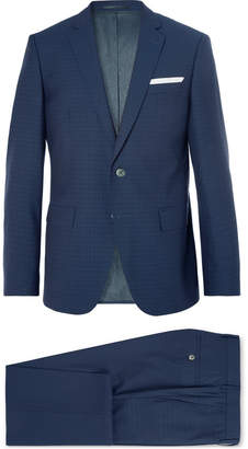 HUGO BOSS Navy Hutson/Gander Slim-Fit Checked Virgin Wool Three-Piece Suit