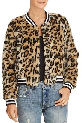 BB Dakota Clever Girl Leopard Print Faux Fur Bomber Jacket