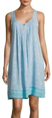Miss Elaine Printed Sleeveless Pajama Dress