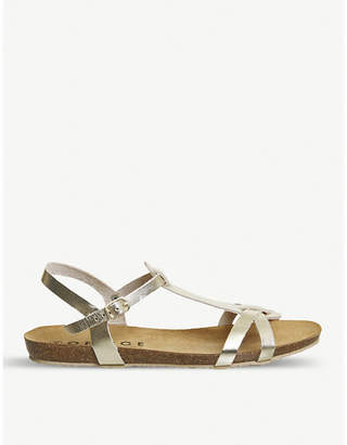 Office Sorbet T-bar metallic leather sandals