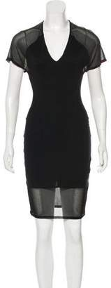 Helmut Lang Mesh-Paneled Knee-Length Dress