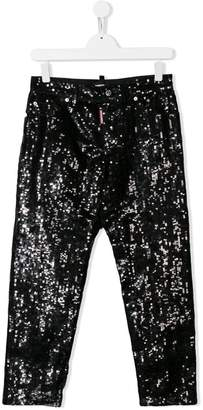 DSQUARED2 TEEN sequin embroidered trousers