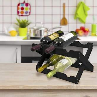 Sorbus Bamboo Collapsible Countertop Wood Wine Rack, Holds 6 Bottles, Matte Black