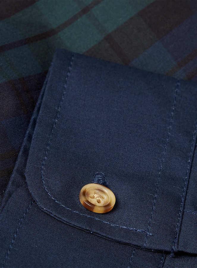 Topman Navy Tartan Contrast Long Sleeve Smart Shirt