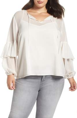 1 STATE 1.STATE Check Tie Neck Blouse