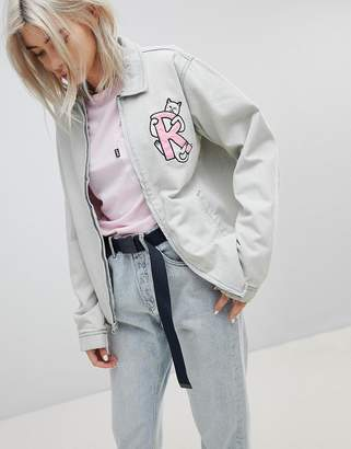 Rip N Dip RIPNDIP Boyfriend Denim Jacket With Embroidered Logo And Contrast Gingham Lining