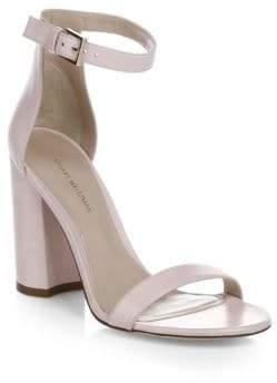 Stuart Weitzman Silk Faille Suede Ankle-Strap Sandals
