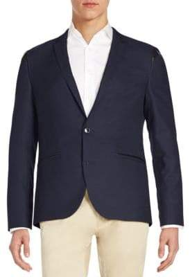 HUGO BOSS Adgert Regular-Fit Faux Leather-Trim Sportcoat
