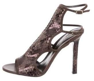 Tamara Mellon Snakeskin Suede-Trimmed Sandals
