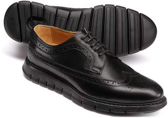 Charles Tyrwhitt Black Extra Lightweight Derby Brogue Shoes Size 12